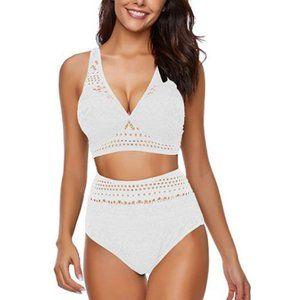 Crochet White High Waisted Padded Bikini
